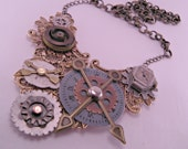 Brass Industrial Steampunk Time Clock Pendant Necklace with 18 Inch Brass Chain