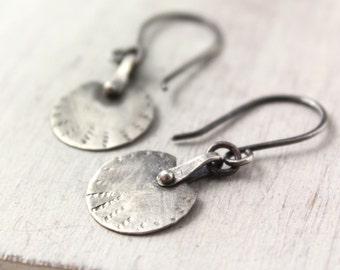 Rustic Riveted Silver Earrings