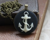 Anchor Cameo Necklace with Brass, Nautical, Seafarers, Maritime, Boxing Day Sale
