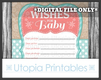 Baby Shower Wishes For Baby Wish Card Cute Teal Coral Brown Flowers Polka Dot Party Activities Digital Printable Aqua Blue Turquoise Tan