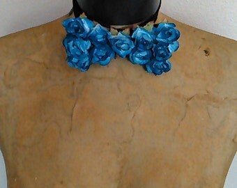 Fathers Day Blue Rose Embellished Bow Tie