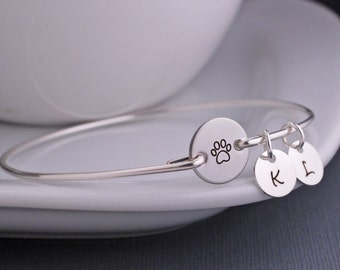 Paw Print Bracelet, Silver Personalized Pet Memorial Jewelry, Dog or Cat Lover Gift, Custom Gift for Animal Lover