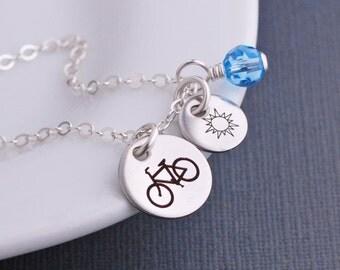 Custom Bike Necklace, Gift for Cyclist, Silver Bike Charm, Bike Riding, Cyclist Jewelry