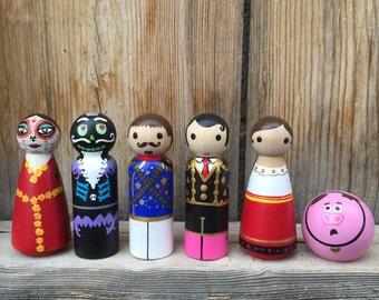 Book of Life Toy, Wood Peg Dolls, Set of 6, hand painted wood peg people peg doll,  Book of Life Birthday, Dia de Los Muertos, sugar skull.