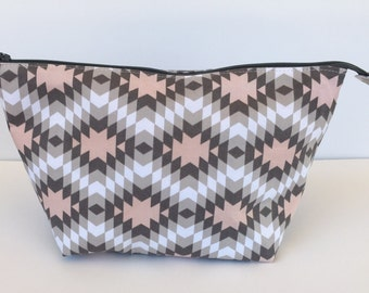 Tribal print zipper pouch make up bag toiletry bag project bag gift for her gray and pink
