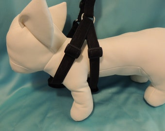 Large or X Large Black Satin Dog Step in Harness  w/ Matching Leash