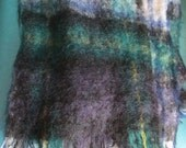 Vintage Mohair Tartan Plaid Scarf Shawl Pashmina Wrap Hand made in Scotland Sandison