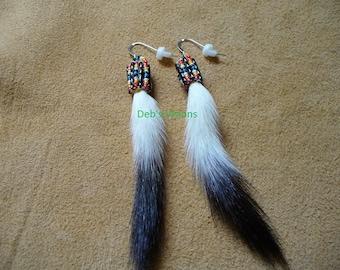 Native American Style loom beaded Ermine Tail earrings