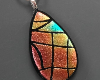 Dichroic Fused Glass Teardrop Pendant, Glass Necklace, Dichroic Fused Glass Hand Etched  Pendant, Copper, Pink and Blue Teardrop Pendant