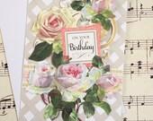 Handmade 3D Birthday Card, Rose Birthday, Blank Card, Feminine Birthday, Friend Birthday Card, Birthday Card for Friend, Anna Griffin Card