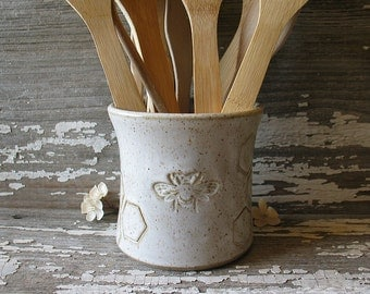 Pottery Utensil Pot - Vintage Bee pattern in Vanilla Bean Glaze - Spoon Pot - Candle Holder - Toothbrush holder