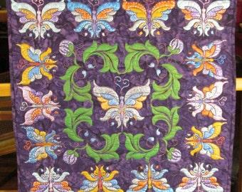Art Quilt Butterflies Hand Painted Wall Hanging