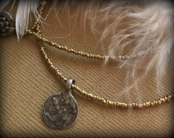Patri Brass and Vintage Button Necklace