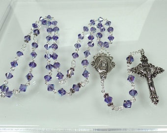 Purple Rosary RCIA Gift Swarovski Crystal Rosary Confirmation Gift Catholic Gift Bride Gift Catholic Gift Godmother Gift Quinceanera Gift