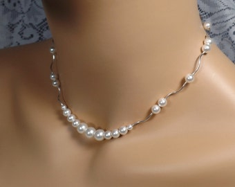 White Pearl Bridal Necklace Pearl Necklace Wedding Jewelry