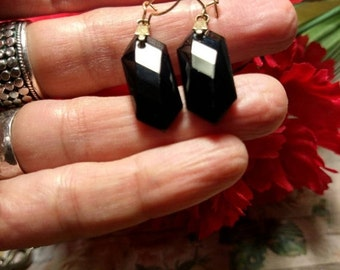 Art Deco 1940s French Jet Black Faceted Crystal Drop Dangle Earrings Pierced Gold Wires