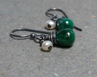 Emerald Earrings May Birthstone Petite White Pearls Oxidized Sterling Silver Earrings Gift for Wife