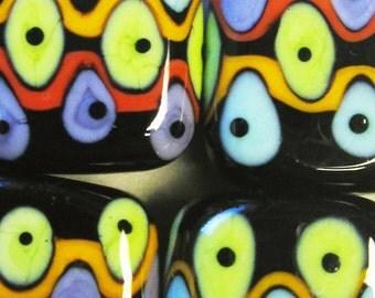 Stripey Spot Pebbles --Handmade Lampwork Beads