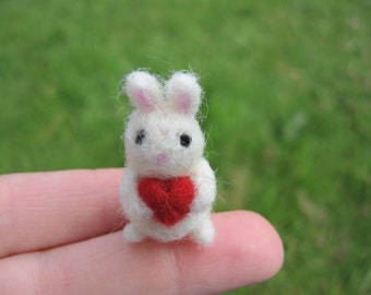 Needle Felted Bunny With Heart Miniature