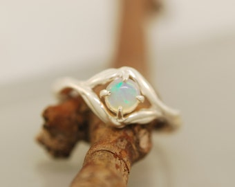 Olive Leaf  Collection, twig ring, alternative engagement ring, opal ring, twig ring, branch ring, opal twig ring