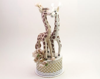 Vintage Style Spun Cotton Giraffe Wedding Topper OOAK
