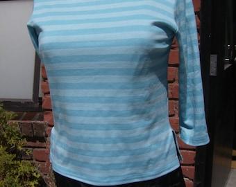 Two Tone Aqua Striped Retro T Shirt, Beatnik Shirt, 50's Style Top