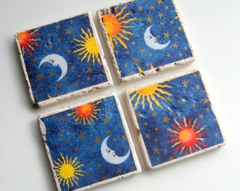 Tumbled Stone Earth Coasters - Celestial Coasters - art papers, blue, moon, sun, stars, tiles, home decor, natural, hostess gift