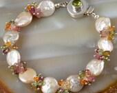 """Peach Coin Pearl Tourmaline Nugget Peridot Vesuvianite Sterling Silver Bracelet - 8"""""""