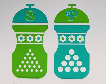 Hand Pulled A3 2 Colour Screen Print - Salt and Pepper Green/Turquoise FREE WORLDWIDE SHIPPING