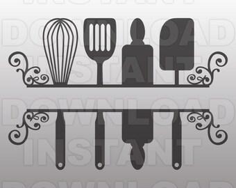 Kitchen SVG File,Kitchen Monogram SVG,Kitchen Flourish,Vector Clip Art for Commercial & Personal Use-Cricut,Cameo,Vinyl,Silhouette,Cut File