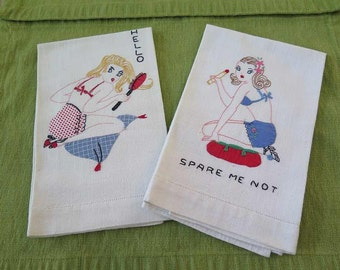 Set of 2 Vintage 1940s 1950s PIN UP Applique and Embroidered Tea Towels Guest Towels