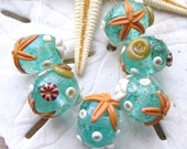 Silver Aqua Ocean - Set of 6 Round SRA Lampwork Glass Beads