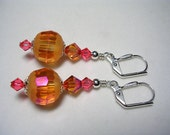Orange Earrings PInk Earrings Swarovski Crystal Earrings 12mm Disco Orange Rose Pink Earrings Leverback Hooks Dangle Earrings Wire Wrapped