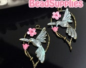 CH-ME-03105MTSP, Nickel Free, Antique brass, A humming bird with flower with blushed effect, 4 pcs