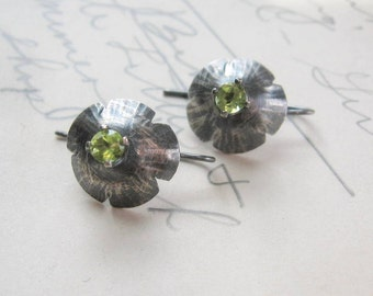 Sale Peridot Gemstone Squash Blossom Earrings in Oxidized Sterling Silver