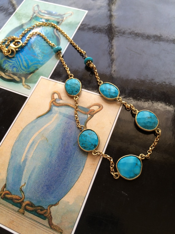 Turquoise Necklace bezel set turquoise links with gold chain