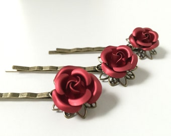 Victorian Rose Hair Pin - red rose hair pin on antiqued brass setting, sold individually
