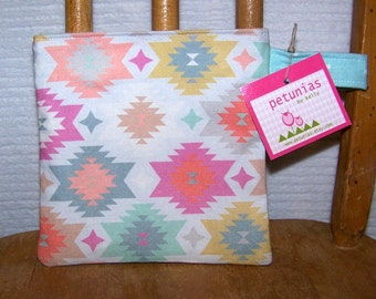 Reusable Little Snack Bag - pouch kids adults eco friendly aztec exclusive fabric by PETUNIAS