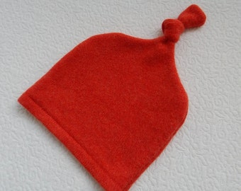 Recycled Orange-Red Cashmere Baby Hat  12-24 months