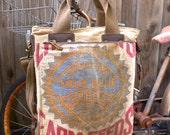 Livingston True Blue Farm Seeds -  Americana Vintage Seed Feed Sack Book Tote W- OOAK Canvas & Leather Tote .. Selina Vaughan
