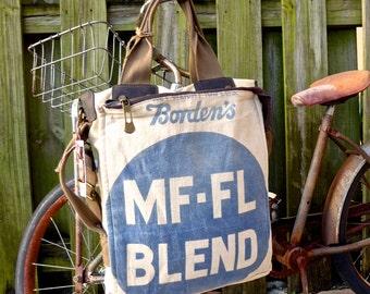 MF-FL Blend - Borden Farms - Americana Vintage Seed Feed Sack Book Tote W- OOAK Canvas & Leather Tote... Selina Vaugha