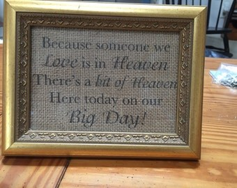 A love in heaven wedding sign