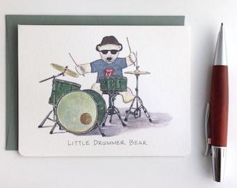 Little Drummer Bear Card