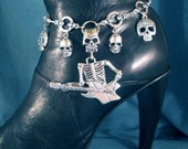 Skull Necklace or BOOT Chains Boot Jewelry Boot Bracelet Boot Bling Biker Lady Rider Skeleton Rose Angel Wings