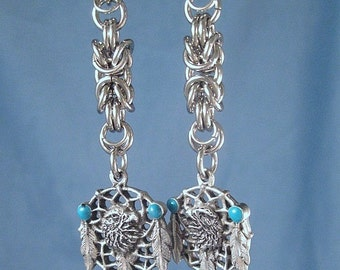 Eagle Dream Catcher Feathers Earrings Chainmail Animal Jewelry  Stainless Steel Chainmaille Rings Byzantine Charms chain mail Turquoise