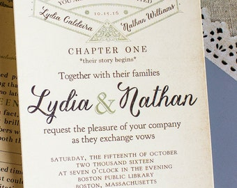 Vintage Story Book Wedding Invitation -literary wedding - library wedding - bookworm wedding - invite for book lovers - fairy tale  wedding