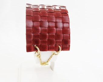 Dark Red Woven Leather and Gold-Filled Chain Cuff Bracelet - Christian Jewelry - Stripes Collection
