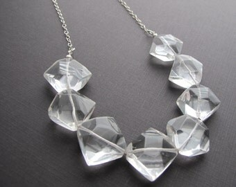 Geometric Quartz Necklace, Bridal Jewelry, Double Point Quartz Beaded Necklace, Sterling Silver Chain