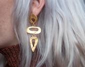 out of eden organic geometric dangle earrings / teardrop earrings / 897a