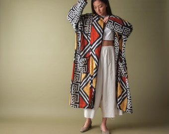tribal print duster coat jacket / long ethnic jacket / duster jacket / s / m / l / 1063o